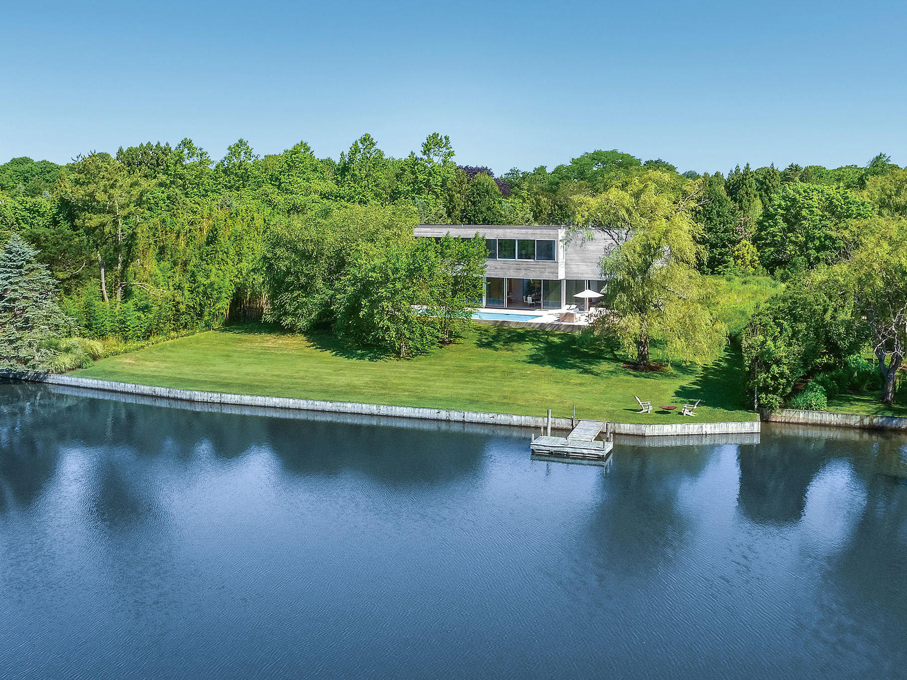 Single Family Home for Sale at Waterfront Modern With Cottage And Dock 66 Cobb Lane, Water Mill, New York
