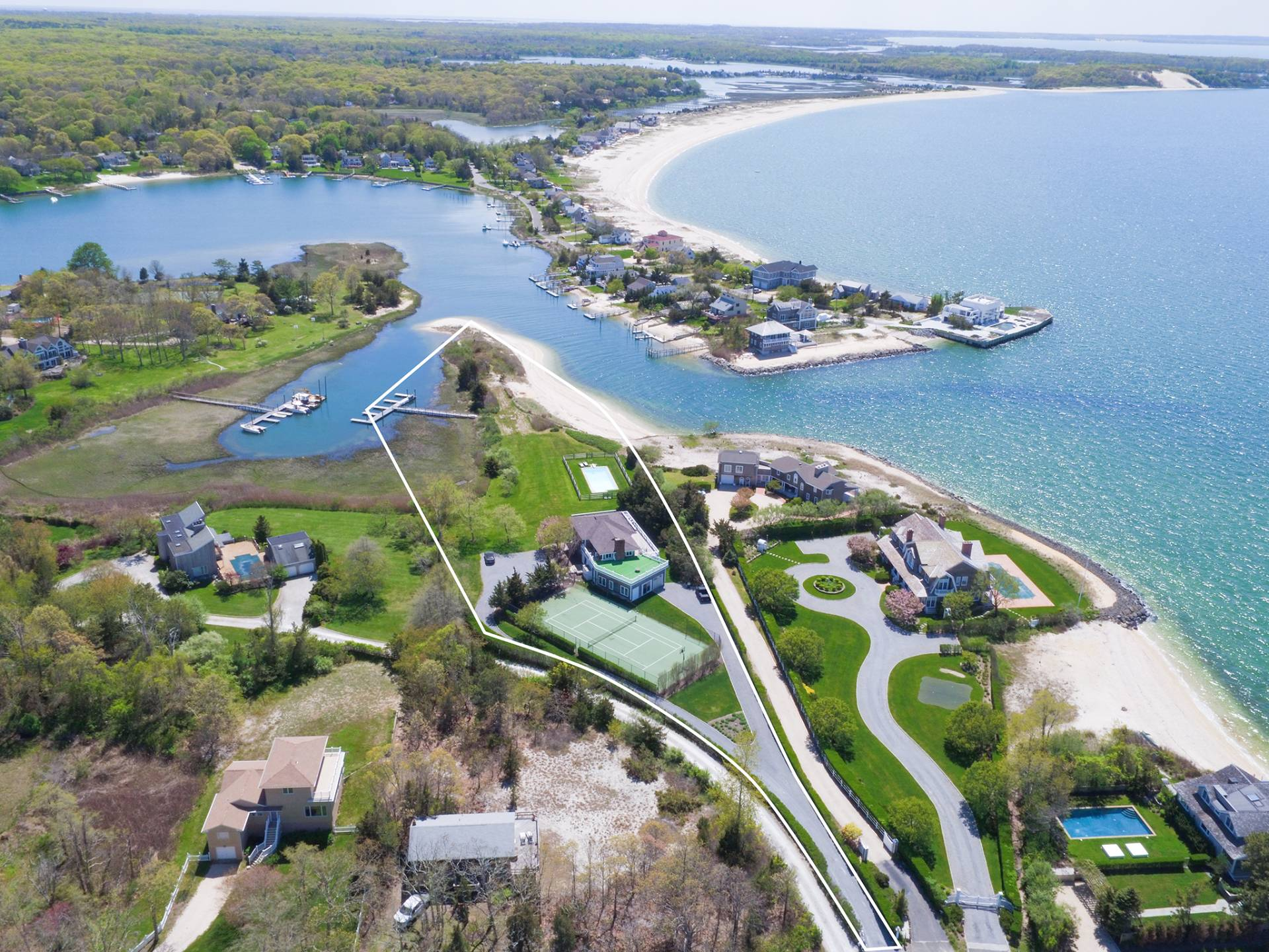 Single Family Home for Sale at Bayfront - Pool - Tennis - Deep Water Dock - Beach 66 Peconic Bay Avenue, Southampton, New York