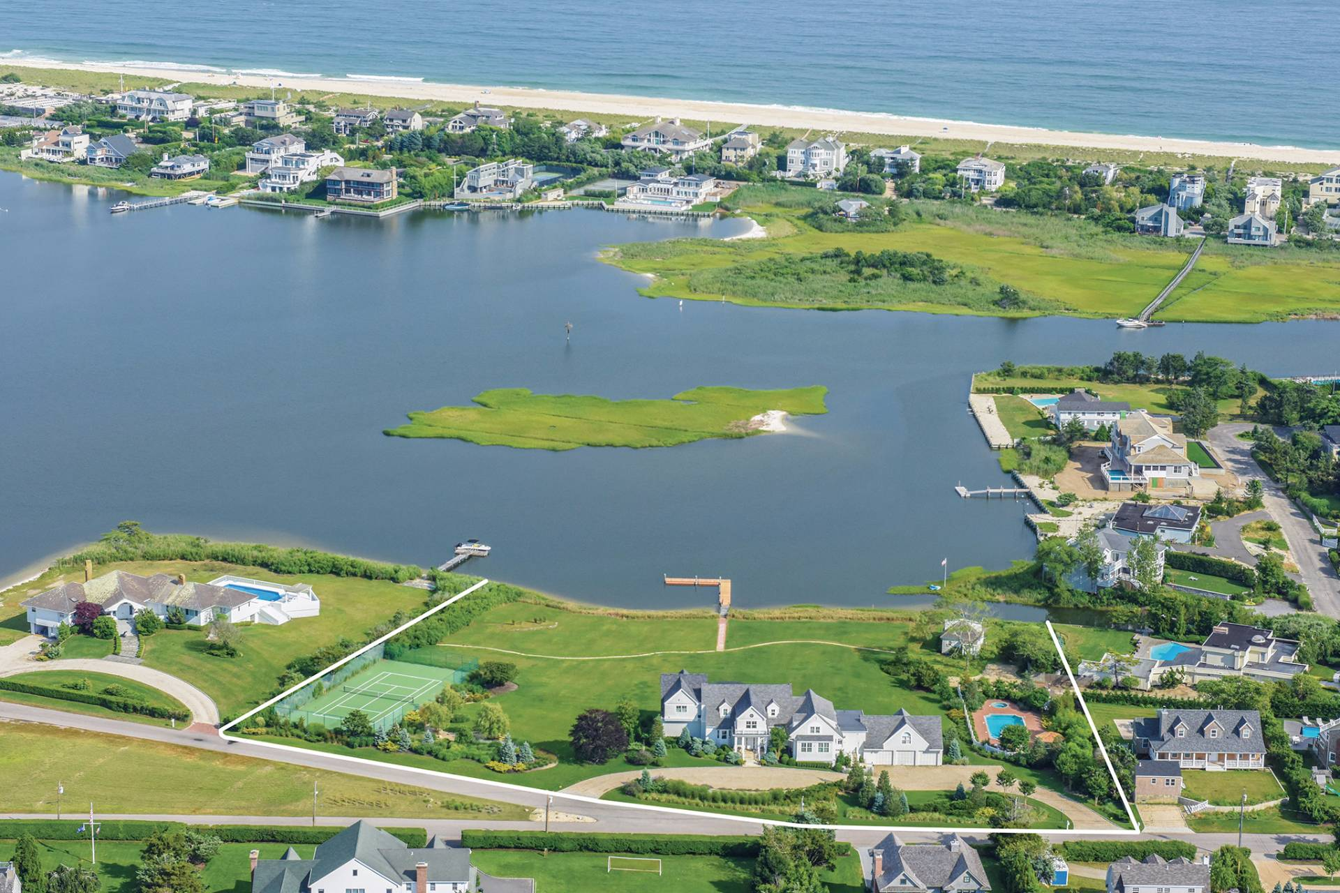 Single Family Home for Sale at Luxurious Waterfront Estate With Pool, Tennis & Guest House 37 Exchange Place, Westhampton Beach, New York