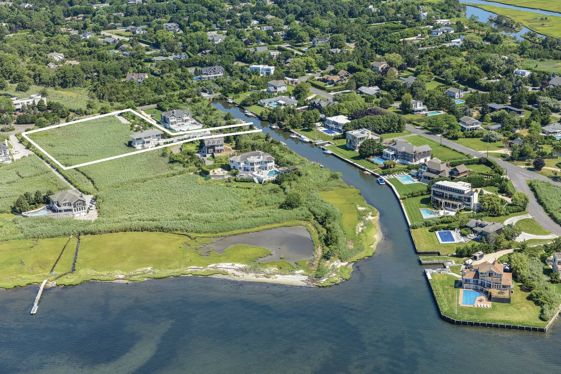 Single Family Home for Sale at Sophisticated Beach Living With Pool, Dock, Water Views 5 Bay Meadow Lane, Westhampton, New York